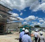 建設中の中学校給食センター現場(元若草中学校跡地)10月完成予定